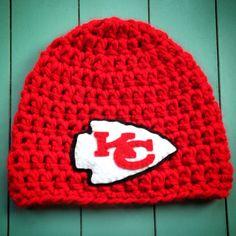 Kansas City Chiefs crocheted hat by Christa Keeler