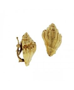 Estate 18K Yellow Gold Non-Pierced Conch Shell Earrings by Tiffany