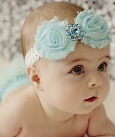 Look at this #zulilyfind! Ella's Bows Aqua Shabby Diaper Cover & Headband by Ella's Bows #zulilyfinds