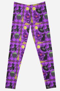 Halloween Witch Pattern Leggings #halloween #witch #cats #blackcat #purple