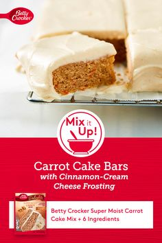 You're just seven ingredients away from delicious carrot cake bars with a generous cream cheese swirl—it's a perfectly unique project to add some variety to your at-home baking excursions! Carrot Cake Bars, Moist Carrot Cakes, Carrot Cake Muffins, Desserts To Make, Delicious Desserts, Food To Make, Yummy Food, Dessert Bars, Dessert Ideas