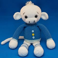 Pattern - Monkey Boy in a Blue Sweater by Lullubies on Etsy