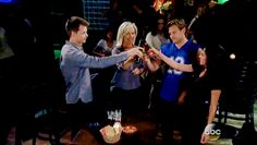 Michael Quartermaine/Corinthos, Carly Corinthos, Jake Doe, and Sam Morgan at Jake's Bachelor Party!