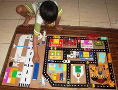 The #1 Mom 4 My 2 Boys: Homemade toy: Car (and Airport) Play Mat dari karton bekas