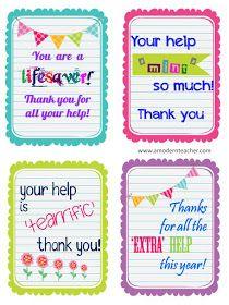 Sunny Days in Second Grade: Parent Appreciation Idea!
