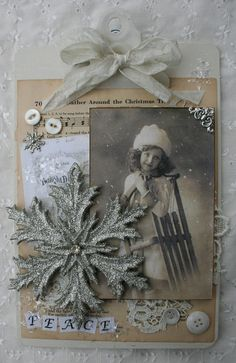 Altered Christmas Clipboard...with old sheet music paper & sparkly snowflake... #sugarlumpstudios.