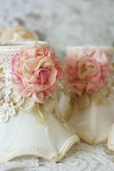 Shabby chic.....I have the lace...I have roses...Time to get my lampshades finished! So dainty!