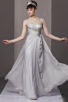New Arrival Robe De Soiree Sirene Chiffon Straight Sparkle Sequin Abendkleider Formal Long Caftan Dress 2015 Grey Evening Dress