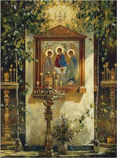 Greek Orthodox Icon of Holy Trinity. What a beautiful setting for this icon. Russian Icons, Russian Art, Religious Icons, Religious Art, Saint Esprit, Russian Painting, Byzantine Icons, Russian Orthodox, Orthodox Christianity