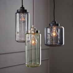 Grandma canned fruits, vegetables, and pickles in a variety of unique jars with shades of greens, blues, and clear glass. These cool Glass Jar Pendant light