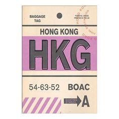BuyNick Cranston - Luggage Labels: Hong Kong Unframed Print with Mount, 40 x 30cm Online at johnlewis.com