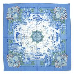 Hermes Scarf Shawl 100% Silk Carre 90 AZVLEJOS AUTHENTIC #Hermes #Scarf