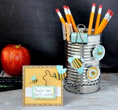 Teacher appreciation pencil holder and coordinating card via @Ribbons & Glue for @Pebbles Inc. using #GardenParty collection