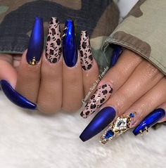 50 Fabulous Sparkly Giltter Acrylic Blue Nails Design On Coffin coffin nails royal blue - Coffin Nails Royal Blue Nails, Navy Blue Nails, Light Blue Nails, Blue Coffin Nails, Cheetah Nails, Blue Acrylic Nails, Dark Nails, Blue Gel, Blue Glitter