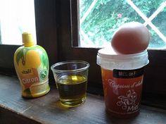Masque à l'huile d'olive ,miel, l'oeuf et citron pour les cheveux très secs et fragilisé.