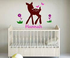 Girls room decal-Girls room decor-Wall sticker-Personalized decal-Baby deer with flowers and butterflies-42 X 32 inches