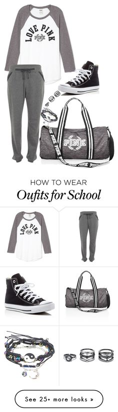 """""""Lazy Days At School"""" by kayley2103 on Polyvore featuring Victoria's Secret, Calvin Klein, Converse and Lulu*s"""