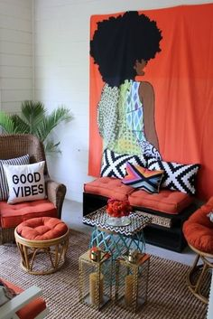 retro home decor Creative Modern Decor With Afrocentric African Style Ideas African Bedroom, African Living Rooms, African Themed Living Room, Retro Home Decor, Unique Home Decor, Home Decor Styles, African Interior Design, Decor Interior Design, Diy Design
