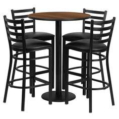 Flash Furniture 30'' Round Walnut Laminate Table Set with 4 Ladder Back Metal Bar Stools - Black Vinyl Seat RSRB1024-GG