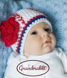 Newborn Crocheted Baby GIRLS BASEBALL BEANIE Hat with Flower Size 0 - 6 Months White Red Royal