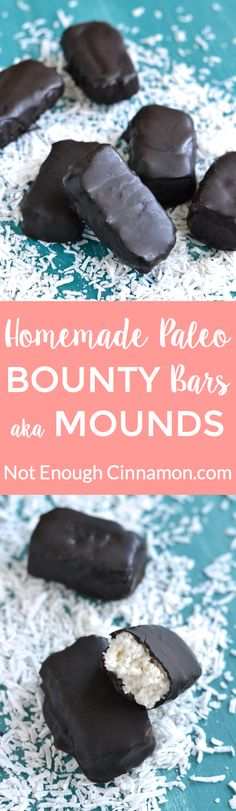 Easy Homemade Vegan and Paleo Bounty Bars. They're refined sugar free and dairy…