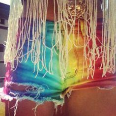 I must make a pair of rainbow cutoffs #tomorrowworld #festivalfashion