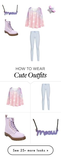 """""""Pastel Outfit #1"""" by spookyhime on Polyvore featuring WithChic, 7 For All Mankind and Dr. Martens"""