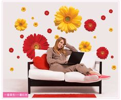 1Set ZY6015 rDaisy Flower Living Room Vinyl 3D Wall Stickers Window Decor Bedroom Wall Decals Sticker To The Kitchen On The Door