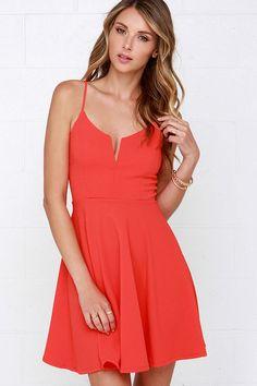 Best Place to V Coral Red Skater Dress at Lulus.com!