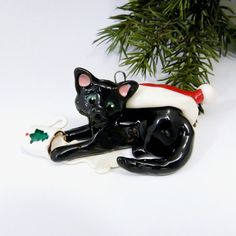 Your place to buy and sell all things handmade Cat Christmas Ornaments, Christmas Cats, Hand Sculpture, Fine Porcelain, Santa Hat, Animal Rescue, Dog Cat, Husband, Animals