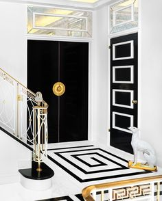 A Brother-Sister Design Team Gives an Art Deco-Era Townhouse Daring Interiors - New York Cottages & Gardens - September 2018 - New York, NY Decorative details were inspired largely by the maximalist style of the legendary designer Dorothy Draper. Motif Art Deco, Art Deco Era, Art Deco Design, Floor Design, Tile Design, House Design, Marble Design Floor, Design Desk, Versace Tiles