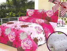 Set lenjerie de pat creponata Floral Print + Perna GRATIS