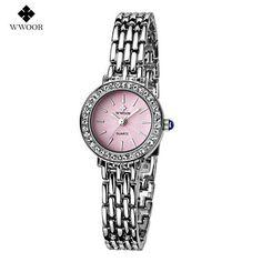2016 New Luxury Brand WWOOR Women Quartz Bracelet Watch Women Dress Watches Ladies Fashion Casual Silver Rhinestones WristWatch