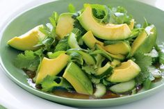 Avocado salad with Asian dressing. A powerhouse of nutrition, green avocados are the star ingredient in this Asian-style salad side. Avocado Recipes, Lunch Recipes, Salad Recipes, Vegan Recipes, Asian Dressing, Vegetable Salad, Herb Salad, Dressing Recipe, Perfect Food