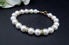 Bridal Pearl Bracelet White Swarovski Pearls by DivineJewel