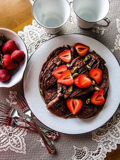 Last weekend Eric and I were at a cafe that served crepes and we just Chocolate Crepes, Chocolate Slice, Vegan Dark Chocolate, Chocolate Strawberries, Vegan Pancake Recipes, Raw Vegan Recipes, Vegan Food, Vegan Baking, Vegetarian Recipes