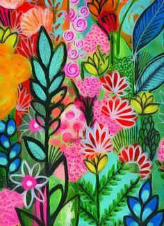 Luscious flowers art print archival print trees art print art print garden painting tree art print f Arte Pop, Hippie Kunst, Garden Painting, River Painting, Tree Art, Handmade Art, Painting Inspiration, Flower Art, Art Flowers