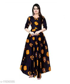 Dresses Women's Printed Black Mustard  Rayon Dress  Fabric: Rayon Sleeve Length: Three-Quarter Sleeves Pattern: Printed Multipack: 1 Sizes: Free Size (Length Size: 50 in)  XL (Bust Size: 42 in, Length Size: 50 in)  L (Bust Size: 40 in, Length Size: 50 in)  M (Bust Size: 38 in, Length Size: 50 in)  XXL (Bust Size: 44 in, Length Size: 50 in)  Country of Origin: India Sizes Available: Free Size, M, L, XL, XXL   Catalog Rating: ★4.2 (514)  Catalog Name: Pretty Fashionable Women Dresses CatalogID_2245174 C79-SC1025 Code: 963-11836568-009