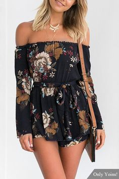 Navy Sexy Random Floral Print Off Shoulder Playsuit with Selff-tie Design