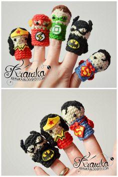 DIY Crochet Super Hero Finger Puppets Free Patterns. Free...