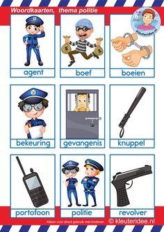 Woordkaarten 1 voor kleuters, thema politie.