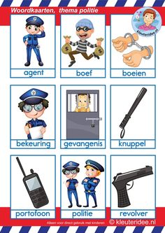 Woordkaarten 1 voor kleuters, thema politie. Preschool Education, Preschool Themes, Glenn Doman, Learn Dutch, Police, Dutch Language, Community Helpers, Animal Coloring Pages, Close Reading