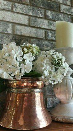 How beautiful do the flowers look in that gorgeous bronze. Copper Pots, Copper Kitchen, Copper And Brass, Bronze, Antique Copper, French Kitchen, Country Decor, Farmhouse Decor, Copper Decor