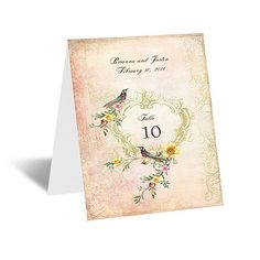 vintage birds table card | wedding reception table number cards at Invitations By Dawn