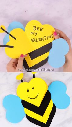 This heart bee craft for kids is both a craft and a super cute Valentines day card kids can easily make. day crafts for kids at school Heart Bee Craft for Kids Valentine's Day Crafts For Kids, Mothers Day Crafts, Craft Activities For Kids, Preschool Crafts, Diy For Kids, Things For Kids, Craft Ideas, Kid Crafts, Decor Crafts