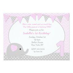 Circus Birthday Invitations Elephant First Birthday Party Invitations
