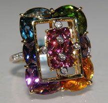 Bellarri Shannon Collection 18K yellow & white gold Rhodolite Garnet, Multi-Gemstone & Diamond Ring