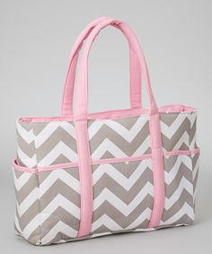 Loving this Pink & Gray Zigzag Diaper Bag on #zulily! #zulilyfinds