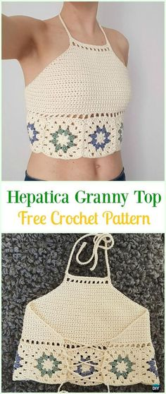 "diy_crafts- Crochet Hepatica Granny Top Free Pattern-Crochet Summer Halter Top Free Patterns ""Come chiudere un top"", ""Overview of Crochet So Crochet Summer Tops, Crochet Halter Tops, Crochet Crop Top, Gilet Crochet, Crochet Shirt, Knit Crochet, Crochet Baby, Knitting Patterns Free, Crochet Patterns"