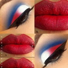 Red white and blue eyeshadow. So pretty.